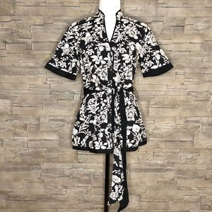 Haggar black and white floral shirt, NEW